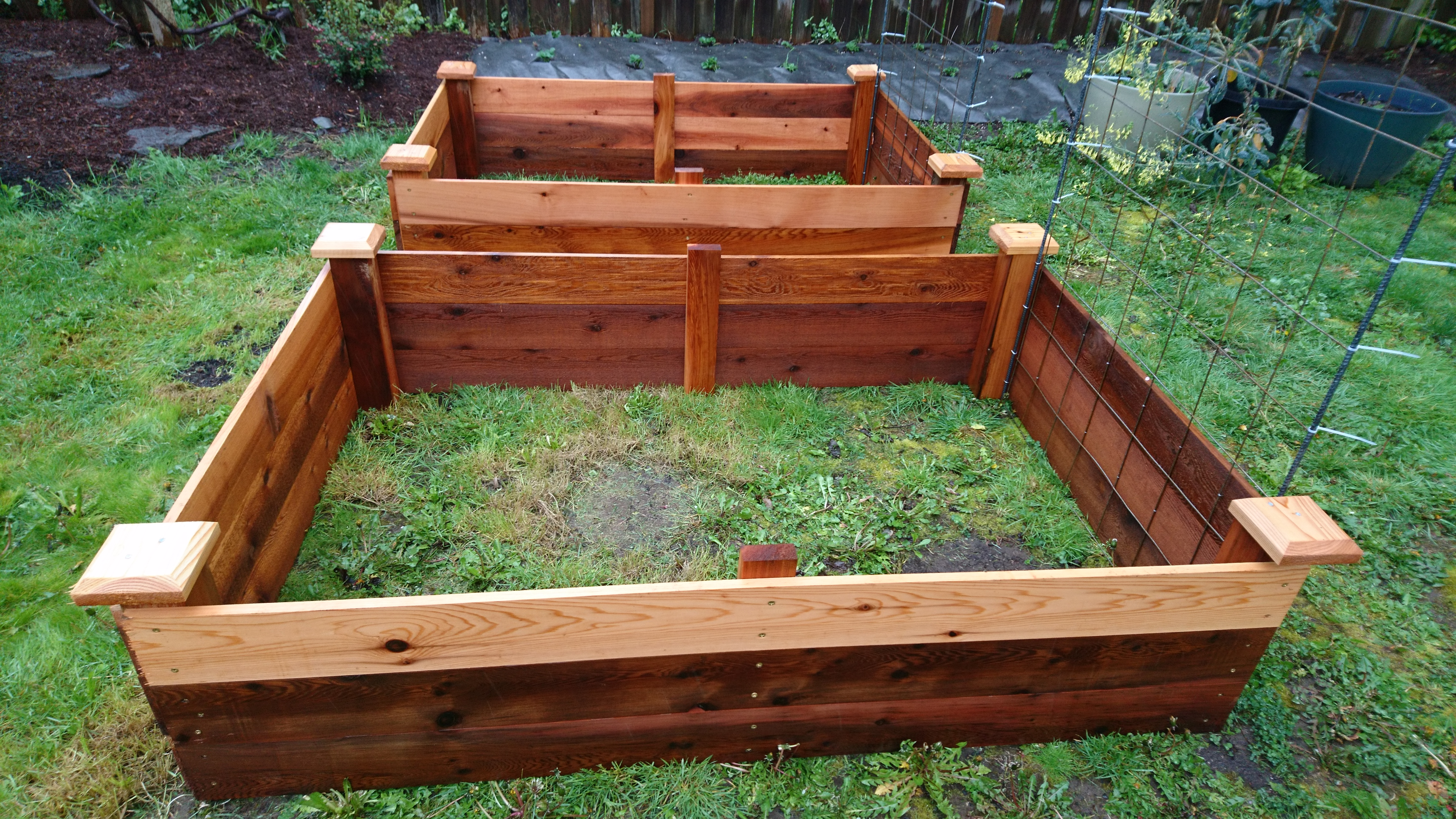 raised bed frames under construction