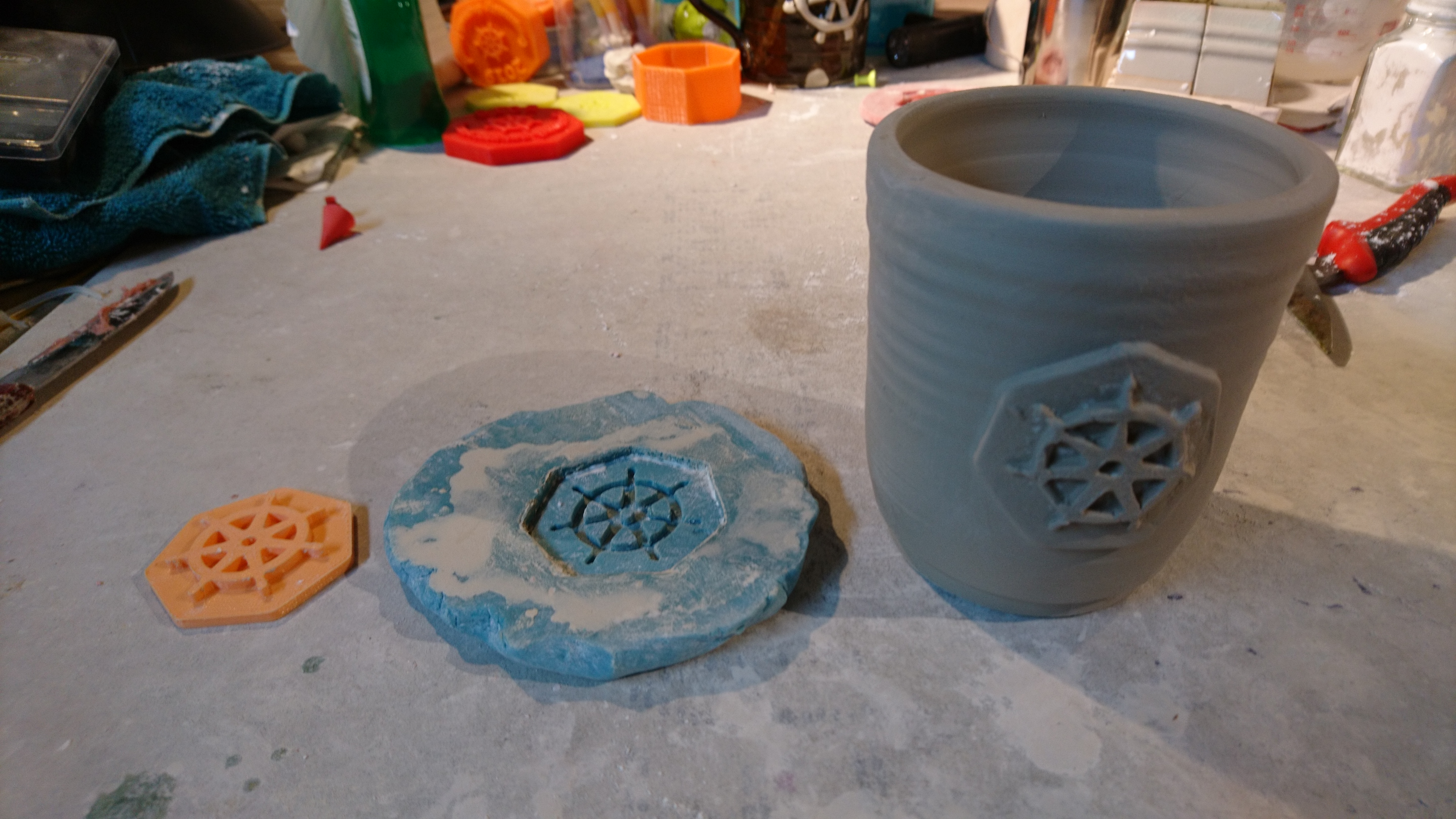 photo of print, mold, and cup