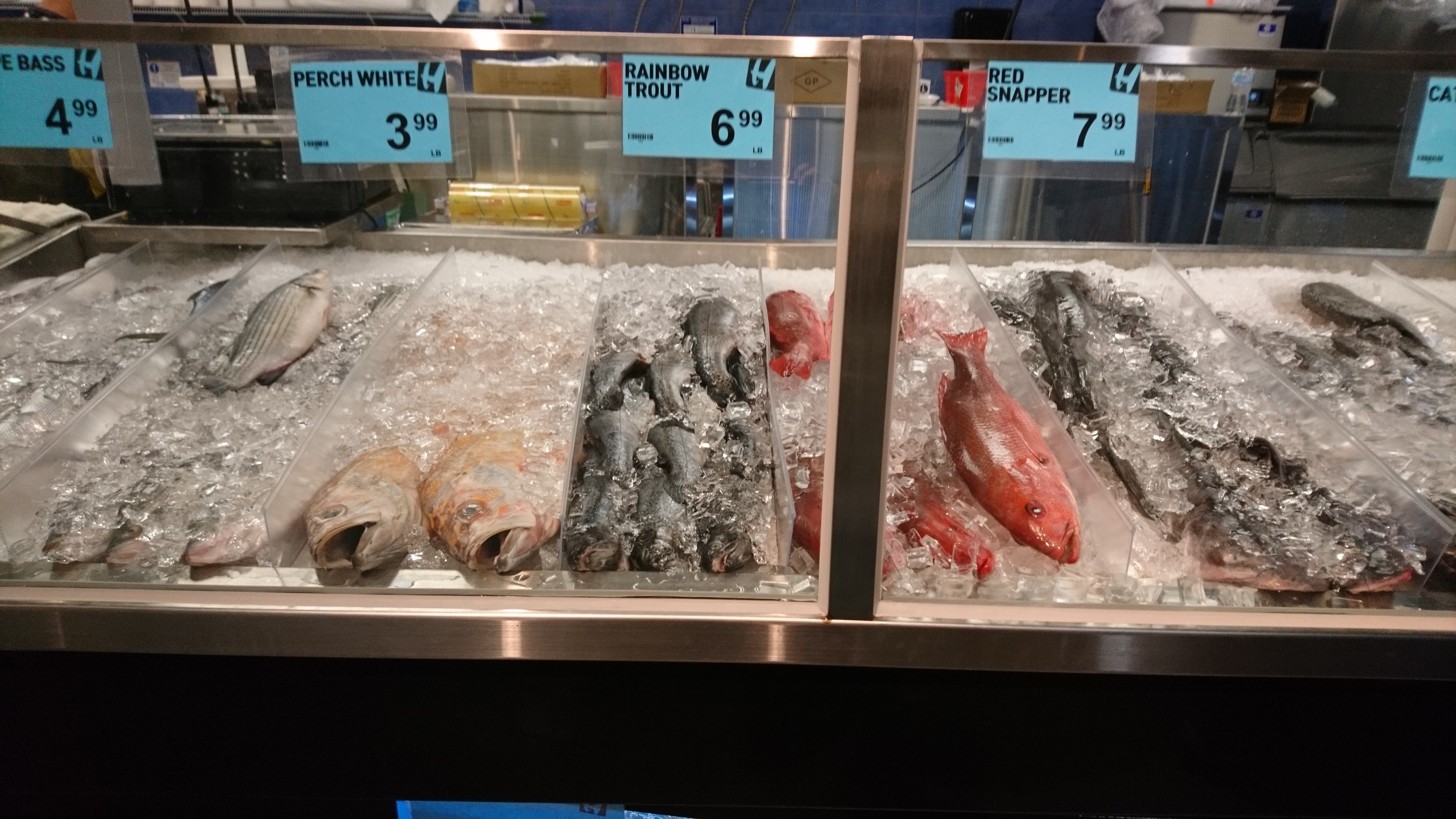 fish counter at h-mart belmont, with many fish on ice