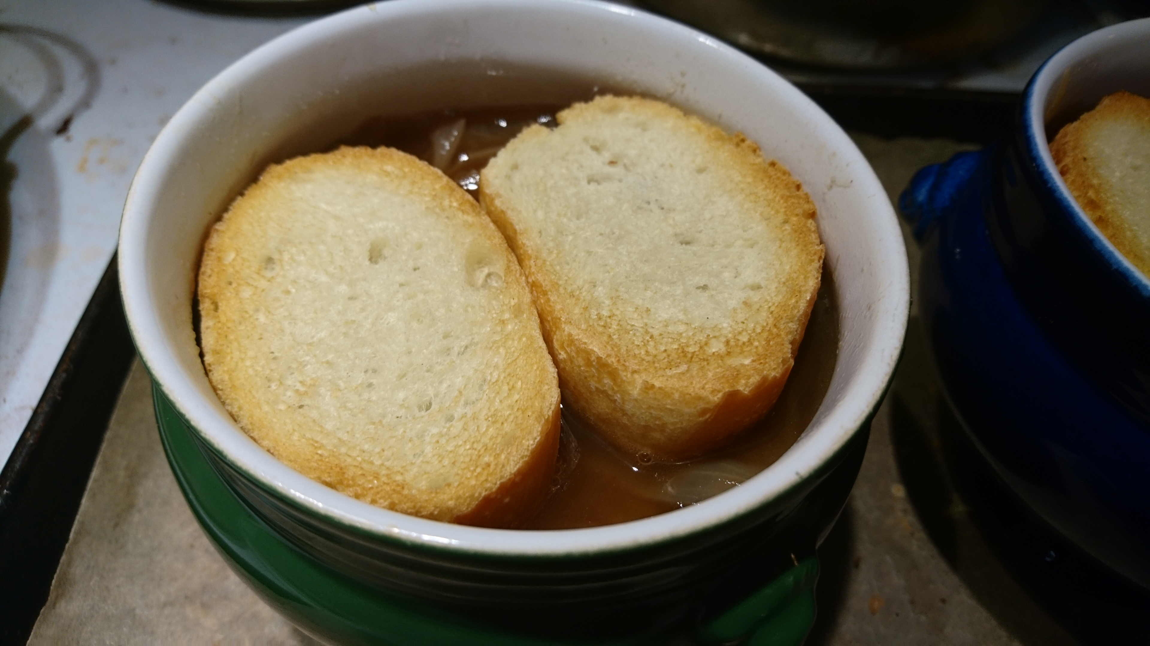 bowls with toasts on top