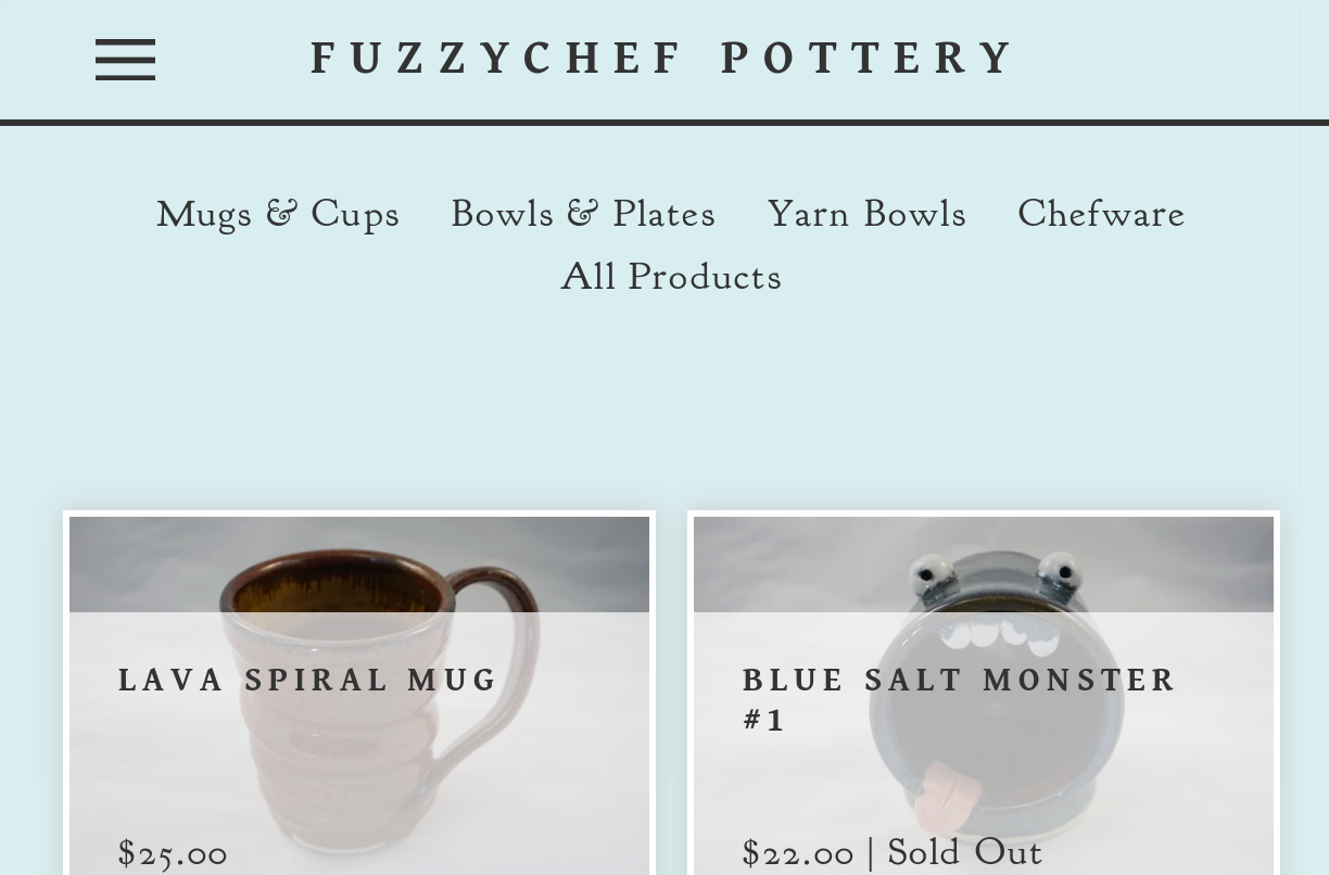 screenshot of fuzzychef.com online store