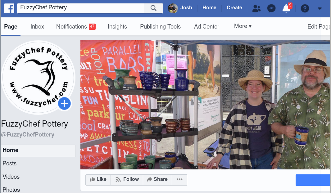 screenshot of Facebook page for pottery business