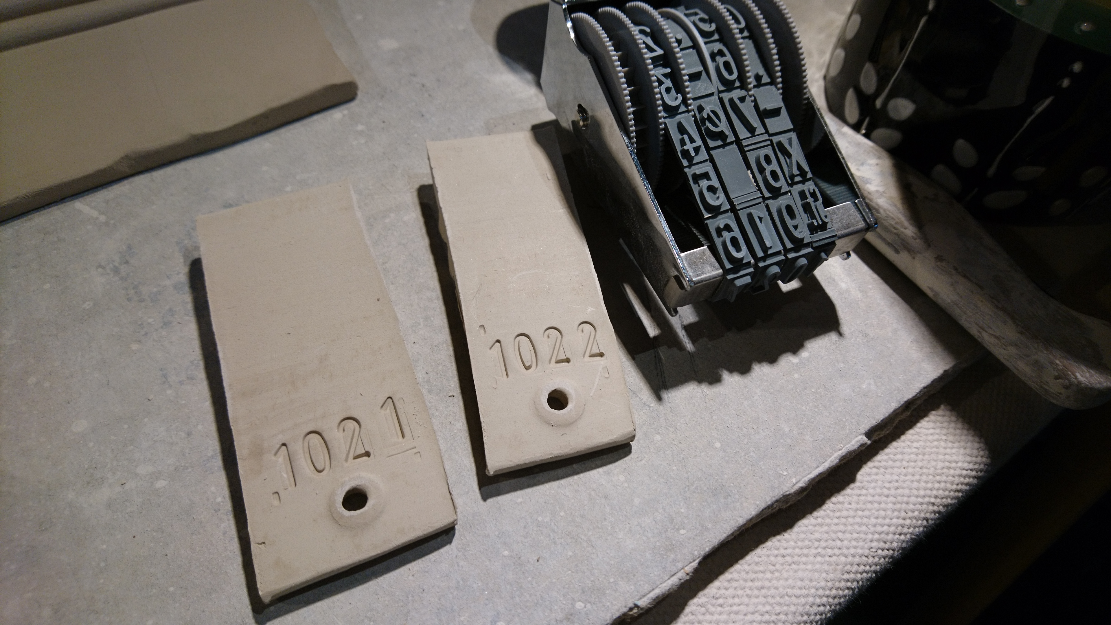 test tiles and numbering stamp